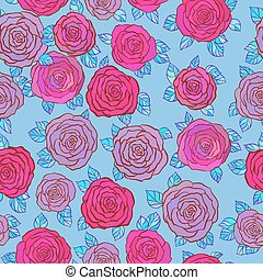 Little Roses seamless background on blue