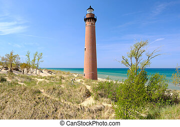 Little Sable Point Lighthouse in dunes, built in 1867, Lake...