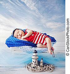 Little sailor during a short nap