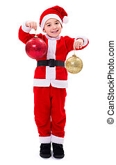 Little Santa Claus boy showing Christmas ornaments - Little...