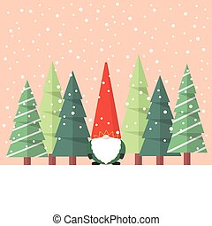 Little Santa claus with christmas tree