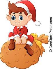 little santa sitting on sack - vector illustration of little...