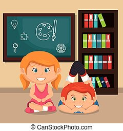 little school kids couple with chalkboard vector...