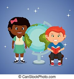 little school kids couple with world planet vector...