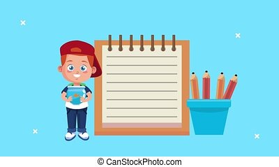 little schoolboy animation character with notebook and pencils ,4k video animated