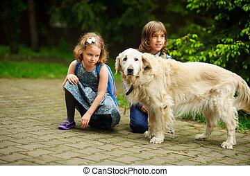 Little schoolchildren met on the way to school a large dog....
