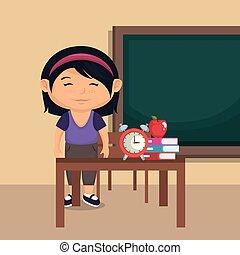 little schoolgirl in the classroom