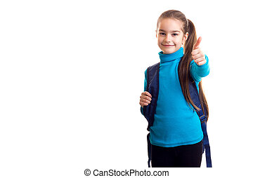 Little schoolgirl show thumbs up at white background
