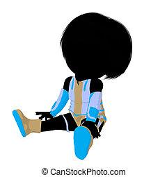 Little Sci Fi Girl Illustration Silhouette - Little sci fi...