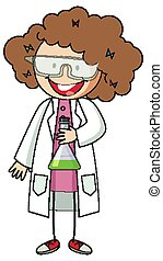 Little scientist doodle cartoon character isolated