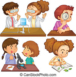 Little scientists - Illustration of the little scientists on...