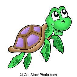 Little sea turtle - purple - color illustration.