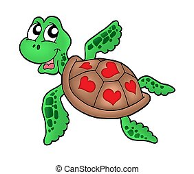 Little sea turtle with hearts - color illustration.