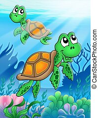 Little sea turtles - color illustration.