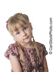 little serious girl on white background