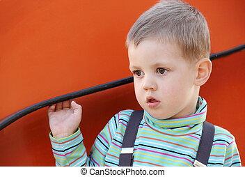 Little Seriously Looking Boy Portrait
