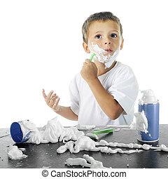 Little Shaver - An adorable preschooler by a shaving cream...