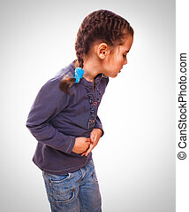 little sick child girl pain in stomach, belly aches and...