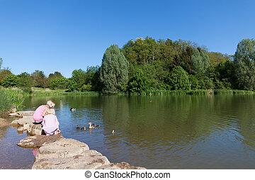 Little sisters feeding ducks at a lake
