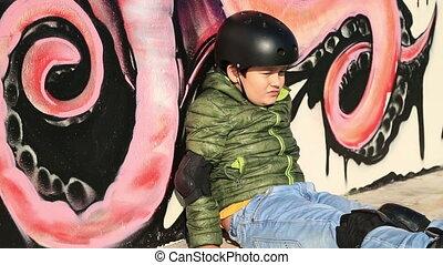 Little skater boring - Portrait of thoughtful, pensive...