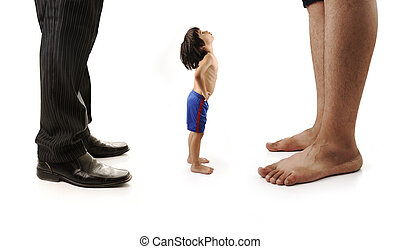 Little small child is looking at the giant legs of two men, businessman and barefoot one