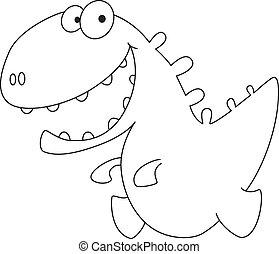little smile dino outlined - illustration of a little smile...