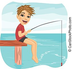 Little smiling boy fishing on lake sitting on a wood pontoon in the morning