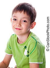 little smiling boy in green t-shirt