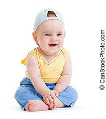 Little smiling boy isolated studio shot