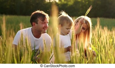 Little smiling boy sitting in a wheat on the field. Summer nature, walking outdoors. Childhood happiness