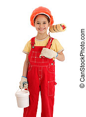 Little smiling builder in coveralls with paintroller and can, isolated on white