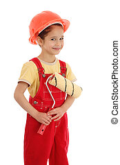 Little smiling builder in coveralls with paintroller, isolated on white