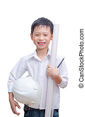 Little smiling builder. Isolated on a white background