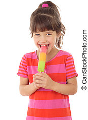 Little smiling girl with color ice cream, isolated on white