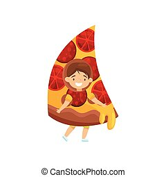 Little smiling kid in pizza slice costume. Cute brunette boy. Fast food. Kid with happy face. Flat vector design