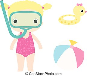 Little snorkeling girl in swimsuit , beach ball and swimming ring