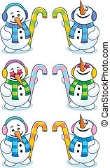 Little snowman looking up and down. Below are two more versions of the same character. No transparency and gradients used.