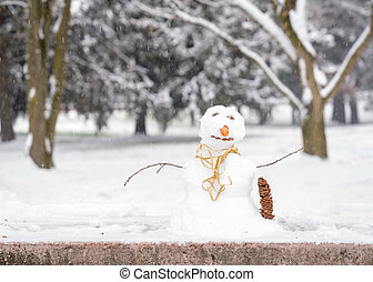 little snowman in the park