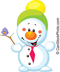 little snowman with bird isolated on white background