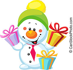 little snowman with gift isolated on white background