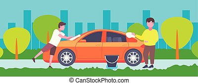 little son helping his father washing car outdoors happy family man with boy spending time together male cartoon characters full length landscape background horizontal
