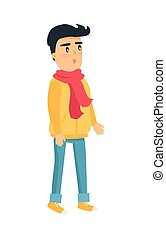 Little Standing Boy in Yellow Jacket and Red Scarf