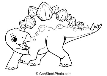 Little Stegosaurus Cartoon Illustration BW