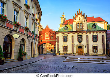 Little street in the old town of Krakow, Poland