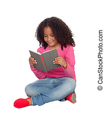 Little student girl reading