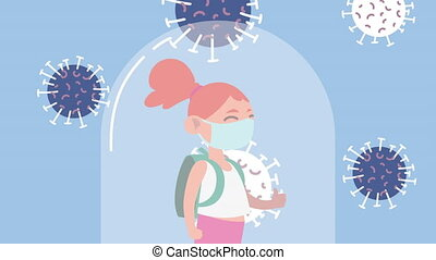 little student girl wearing medical mask character with covid19 particles