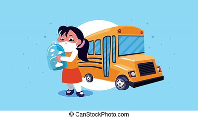 little student girl wearing medical mask with bus