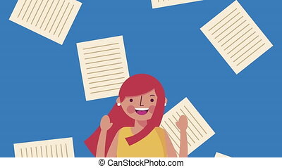 little student girl with notebook sheets character animation...