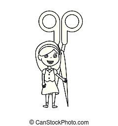 little student girl with scissors vector illustration design