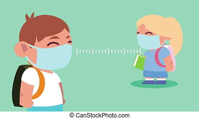 little students couple wearing medical masks with social distance